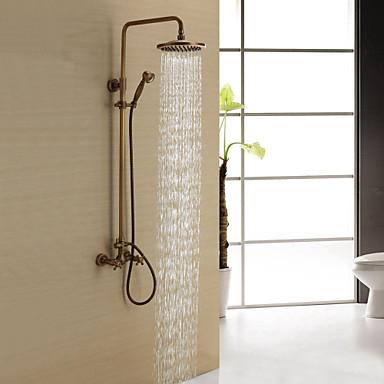 Dusjkran - Antikk Antikk Messing Dusjsystem Keramisk Ventil Bath Shower Mixer Taps / To Håndtak tre hull