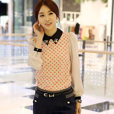Women's Print Beaded Collar Blouse Shirt