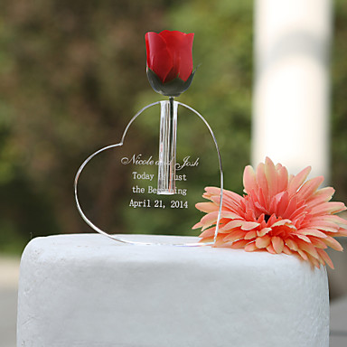 Cake Topper Classic Theme Hearts Crystal Wedding Anniversary Birthday Bridal Shower With Gift Box