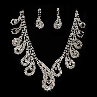 prachtige strass huwelijk bruids ketting, oorbellen sieraden set