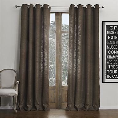 Dva panely Window Léčba Moderní , Jednolitý Obývací pokoj Umělý len Materiál záclony závěsy Home dekorace For Okno