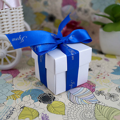 Round Square Cuboid Pearl Paper Favor Holder with Printing Favor Boxes - 24