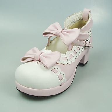 Cipele Sweet Lolita Princeza Štiklu Cipele Mašna 5 CM Blushing Pink Za Umjetna koža/Polyurethane Leather