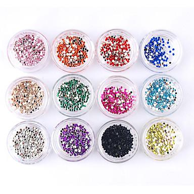 12 pcs Glitter Nail Jewelry Tekojalokivi Lovely kynsitaide Manikyyri Pedikyyri Päivittäin Punk / Häät / Muoti / Kynsien korut