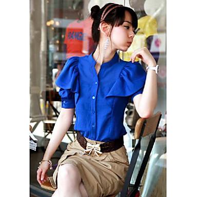 Luva Ruffle Chiffon das mulheres camisa