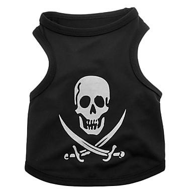 Koira T-paita Koiran vaatteet Pääkallot Musta Teryleeni Asu Lemmikit Miesten Naisten Sievä Halloween