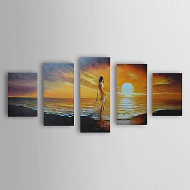 Ručně malované Krajina jakýkoliv tvar Plátno Hang-malované olejomalba Home dekorace Pět panelů