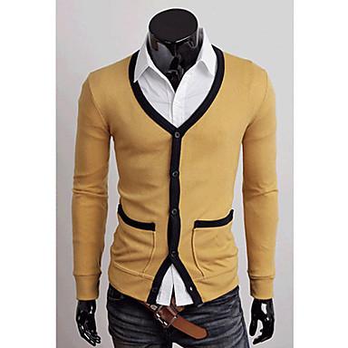 Män Kontrast Color V-ringad kofta tröja