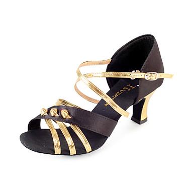 Pentru femei Latin Sală Dans Satin Călcâi Toc Flared Negru și aur 2