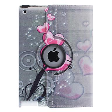 Pouzdro Uyumluluk iPad 4/3/2 Satandlı 360° Dönüş Tam Kaplama Kılıf Kalp PU Deri için iPad 4/3/2