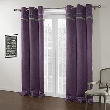 To paneler Vindue Behandling Moderne , Mønsterpræget Ensfarvet Stue Polyester Materiale Mørklægningsgardin forhæng Hjem Dekoration