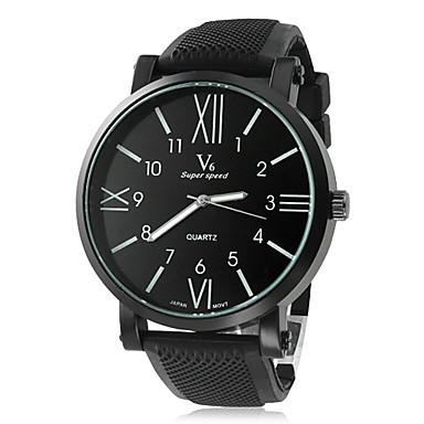 V6 Erkek Quartz Bilek Saati Gündelik Saatler Silikon Bant İhtişam Siyah