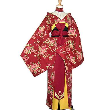 Kimonoo Damen Maskerade Silvester Fest / Feiertage Halloween Kostüme Rot Blumen