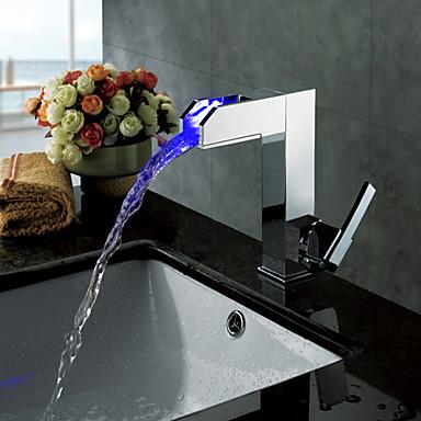 Contemporary Centerset Waterfall LED Ceramic Valve One Hole Single Handle One Hole Chrome, Bathroom Sink Faucet