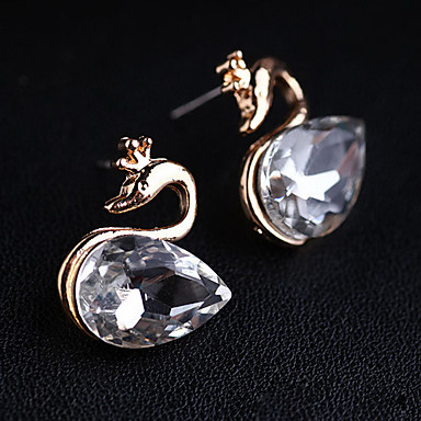 Dámské Peckové náušnice Křišťál Měsíční kámen Syntetické drahé kameny Umělé diamanty Slitina Animal Shape Labuť Šperky Pro Denní
