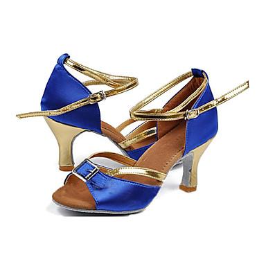 Damen Schuhe für den lateinamerikanischen Tanz Satin / Seide Absätze Leistung Maßgefertigter Absatz Maßfertigung Tanzschuhe Blau / Leder