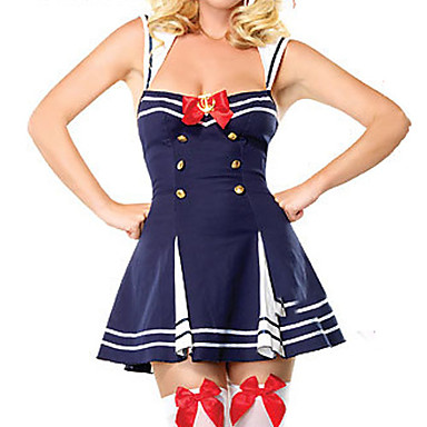 Cool and Sexy White Blue Double-breasted Polyester Sailor Uniform