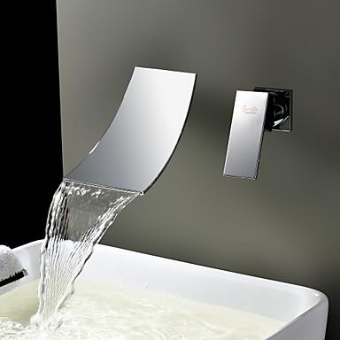 Lichtthebox Sprinkle® Badarmaturen - Moderne Edelstahl Wasserfall / Verbreitete / Wand Zwei Löcher