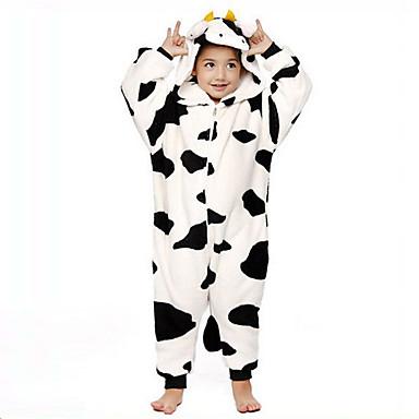 Çocuklar için Kigurumi Pijama Süt İneği Onesie Pijama Fanila Tüylü Kumaş Siyah / Beyaz Cosplay İçin Erkek ve kızlar Hayvan Sleepwear Karikatür cadılar bayramı Festival / Tatil