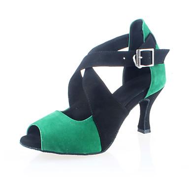 Kadın's Latin Dans Ayakkabıları / Balo Topuklular Kişiye Özel Kişiselleştirilmiş Dans Ayakkabıları Kırmızı / Yeşil / Deri