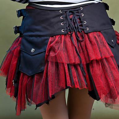 Gotisk Lolita Lolita Dam Kjolar Cosplay Vit Svart Röd Kort längd