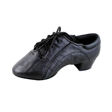 Erkek Latin Dans Ayakkabıları / Balo Deri Sandaletler Küba Topuk Kişiselletirilmemiş Dans Ayakkabıları Siyah / Çocuklar için / Süet