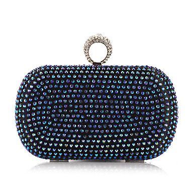 Women's Bags Polyester / Metal Evening Bag Rivet / Crystal / Rhinestone Gold / Silver / Blue
