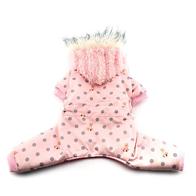 Dog Coat Hoodie Dog Clothes Breathable Polka Dots Pink Costume For Pets