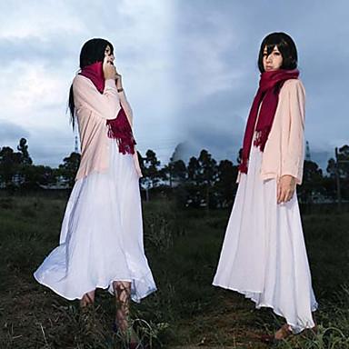 Inspirovaný Attack on Titan Mikasa Ackermann Anime Cosplay kostýmy Cosplay šaty Jednobarevné Kabát Šaty šála či šátek Pro Dámské