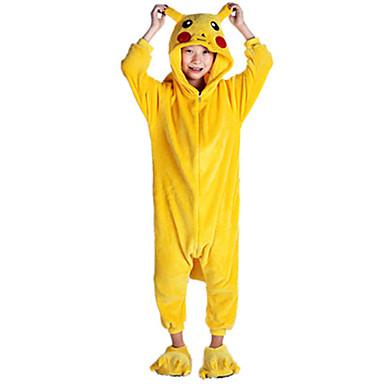 Kigurumi-Pyjamas Pika Pika Pyjamas-Einteiler Kostüm Flanell Vlies Gelb Cosplay Für Kinder Tiernachtwäsche Karikatur Halloween Fest /