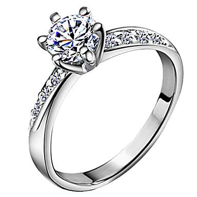 5010847ab95f Mujer Diamante Solitario Redondas HALO Anillo de banda Zirconio Plateado  Amor damas Clásico Nupcial Anillos de