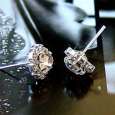 Brincos Curtos Moda Zircão Zircônia Cubica Strass imitação de diamante Liga Formato de Flor Spot de Luz Multi-Colorida Jóias ParaDiário