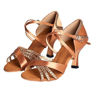 baratos Sapatos de Salsa-Mulheres Sapatos de Dança Cetim Sapatos de Dança Latina / Sapatos de Salsa Salto Salto Personalizado Personalizável Bronze / EU36