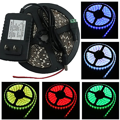 Waterproof 5M 300X3528 Smd Strip Light and Connector and Ac110-240V to Dc12V3A Eu Transformer (Variety Of Colors)
