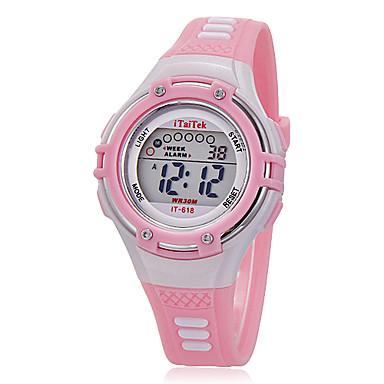 Børn Sportsur Armbåndsur Modeur Quartz LCD Silikone Bånd Afslappet Sort Hvid Pink