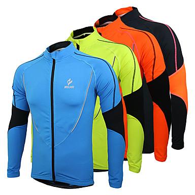 Arsuxeo Men's Cycling Jersey Cycling Jacket Bike Jersey Top Thermal / Warm Fleece Lining Breathable Sports Patchwork Polyester Fleece Winter Orange / Green / Blue Mountain Bike MTB Road Bike Cycling