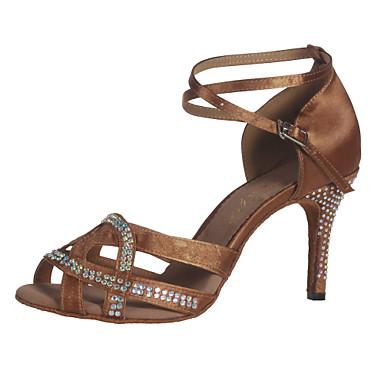 baratos Sapatos de Salsa-Mulheres Sapatos de Dança Cetim Sapatos de Dança Latina / Dança de Salão Pedrarias / Presilha / Vazados Salto Alto / Sandália Salto Personalizado Não Personalizável Bronze / Couro / EU39