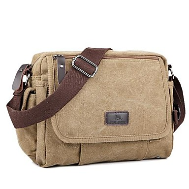 Unisex Bags Canvas Shoulder Bag Zipper Black / Coffee / Khaki