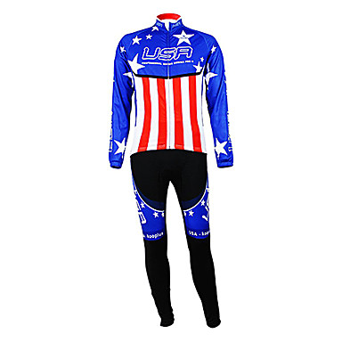 Kooplus Men's Long Sleeves Cycling Jersey with Bib Tights Bike Clothing Suits, Thermal / Warm, Fleece Lining, Breathable, Spring,