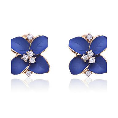 Mulheres Cristal Brincos Curtos - Cristal, Chapeado Dourado, Imitações de Diamante Flor Luxo Azul Para Festa / Diário / Casual
