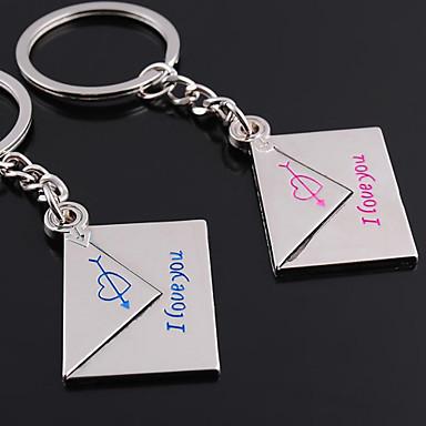 Individuelle Gravur Geschenk ein Paar Umschlag Shaped Liebhaber Schlüsselanhänger