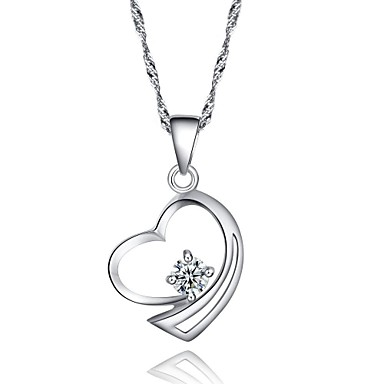 High Quality Pretty Heart Shaped CZ Sterling Silver Platinum Plated Necklace