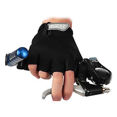 billige Sykkelhansker-FJQXZ Sykkelhansker Pustende Anti-Skli Svettereduserende Beskyttende Halv Finger Aktivitets- / Sportshansker Fjellsykling Svart til Voksne Utendørs
