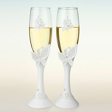 Crystal Toasting Flutes Gift Box Butterfly Theme Spring / Summer / Winter