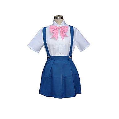 Esinlenen Cosplay Rika Furude Video oyun Cosplay Kostümleri Cosplay Takımları Okul Üniformaları Kırk Yama Kısa Kollu Gömlek Elbise Fiyonk