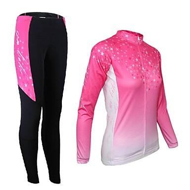 Arsuxeo Dámské Dlouhý rukáv Cyklodres a čapáky - Růžová Jezdit na kole Cyklistické kalhoty Sady oblečení, Zahřívací, Rychleschnoucí,