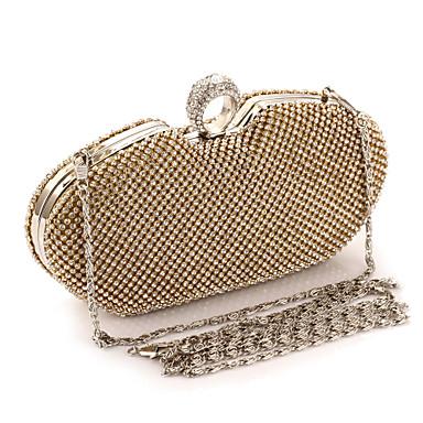 povoljno Clutch i večernje torbice-Žene Crystal / Rhinestone Metal Večernja torbica Kristalne vrećice od kristalnog kamena Zlato / Crn / Pink / Vjenčane torbe / Vjenčane torbe