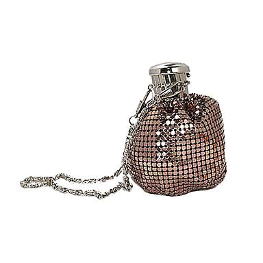 billige Vesker-Dame Krystalldetaljer Nylon / Metall Aftenveske Rhinestone Crystal Evening Bags Svart / Sølv / kaffe