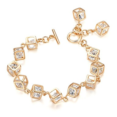 Women's Crystal Gold Plated Charm Bracelet - Silver Golden Bracelet For Wedding Party Daily