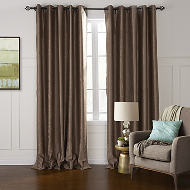 Rod Pocket Grommet Top Tab Top Double Pleat Two Panels Curtain Modern , Embossed Living Room Polyester Material Blackout Curtains Drapes